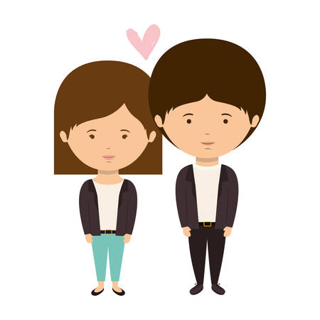 couple dressed eighties style in love vector illustration