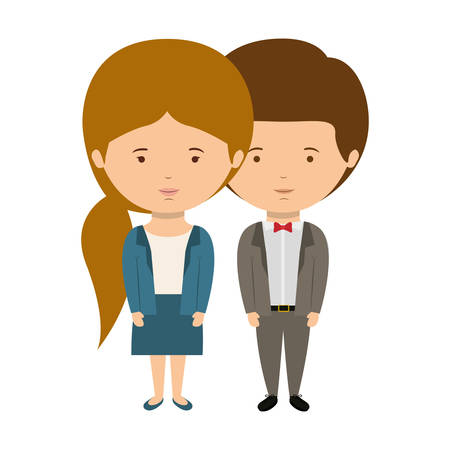 boy long hair: couple dressed formal style in love with girl ponytail hair vector illustration