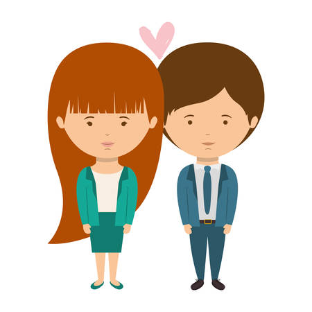 together with long tie: couple dressed formal style in love vector illustration