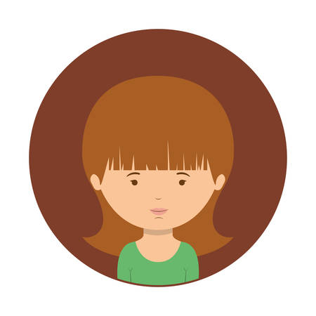 brown sphere of half body woman with green t-shirt vector illustration