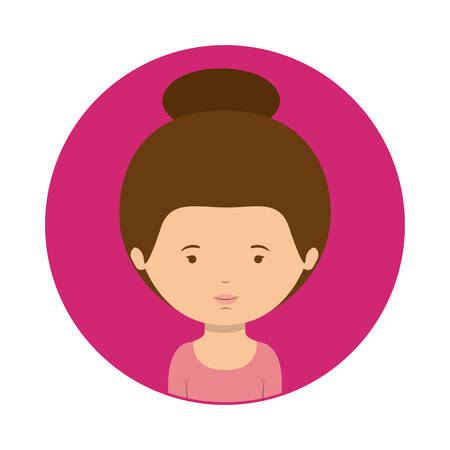 fushia sphere of half body woman with collected hair vector illustration