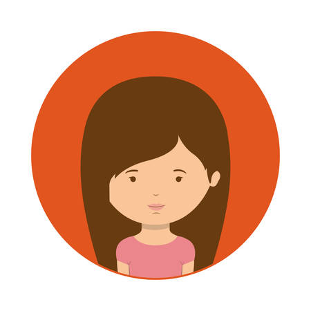 sphere standing: red sphere of half body woman with straight hair vector illustration