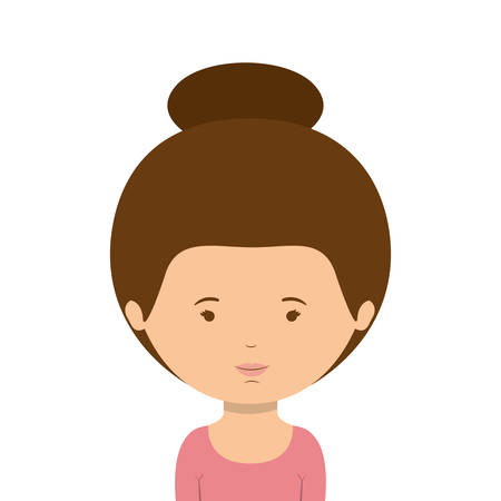 collected: half body woman with collected hair vector illustration