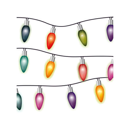 image with extension cord lights multicolor christmas vector illustration