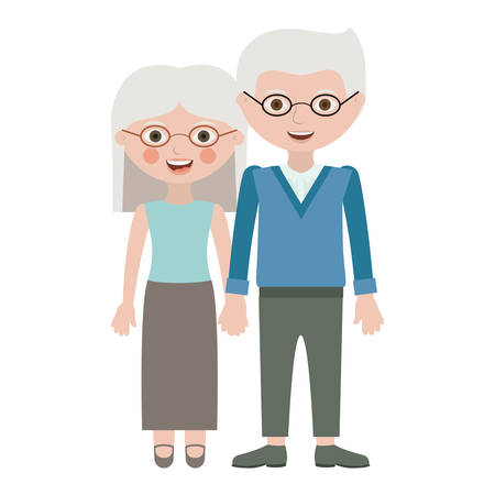 happy couple at home: Couple of grandparents cartoon icon. Relationship family love and romance theme. Isolated design. Vector illustration