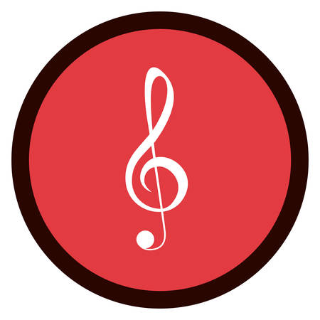 music pentagram: Music note inside button micon. Sound melody pentagram and musical theme. Isolated design. Vector illustration