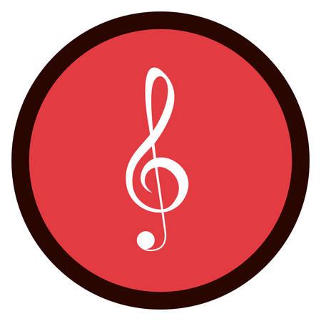 pentagramma musicale: Nota di musica all'interno pulsante micon. pentagramma melodia del suono e il tema musicale. progettazione isolata. illustrazione di vettore