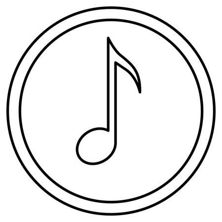 music pentagram: Nota di musica all'interno pulsante micon. pentagramma melodia del suono e il tema musicale. progettazione isolata. illustrazione di vettore