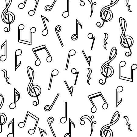 music pentagram: Sottofondo di musica nota. pentagramma melodia del suono e il tema musicale. progettazione isolata. illustrazione di vettore Vettoriali