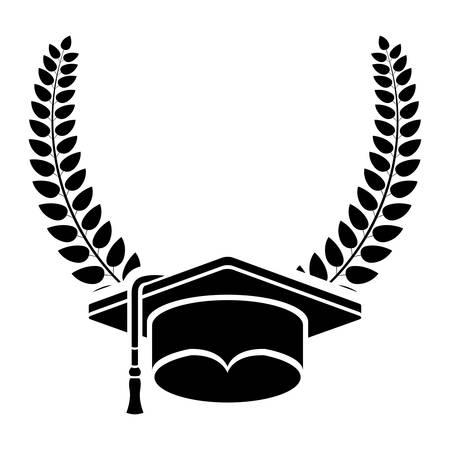 Graduation cap inside wreath icon. Graduation university education and school theme. Isolated design. Vector illustration