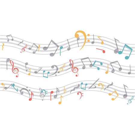 key signature: Music note icon. Sound melody pentagram and musical theme. Isolated design. Vector illustration Illustration