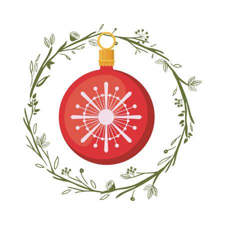 corona navidad: Esfera dentro icono de la corona. decoración de la temporada de Navidad y tema de la celebración. diseño aislado. ilustración vectorial