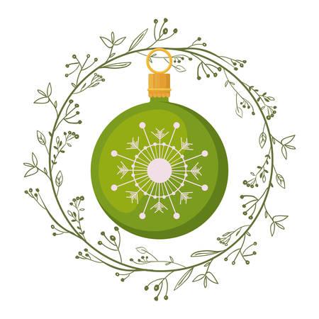 corona navidad: Sphere inside crown icon. Christmas season decoration and celebration theme. Isolated design. Vector illustration