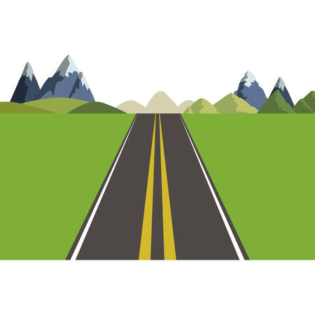 Mountains and street icon. Landscape nature outdoor season and travel theme. Isolated design. Vector illustration