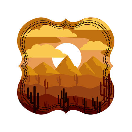 Desert inside frame icon. Landscape nature outdoor season and sant theme. Isolated design. Vector illustration