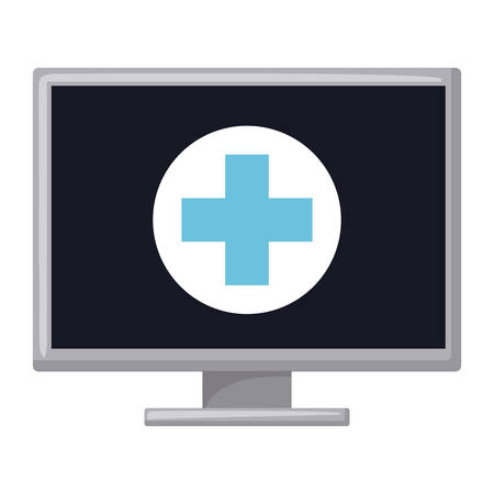 urgent care: Computer icon. Medical health care and hospital theme. Isolated design. Vector illustration