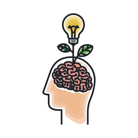 Brain and bulb draw icon. Big idea creativity imagination and inspiration theme. Isolated design. Vector illustration