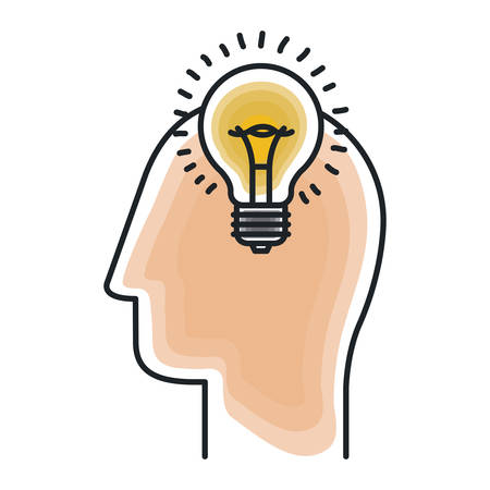 Bulb and head draw icon. Big idea creativity imagination and inspiration theme. Isolated design. Vector illustration Illustration