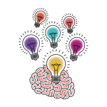 creativity: Brain and bulb draw icon. Big idea creativity imagination and inspiration theme. Isolated design. Vector illustration