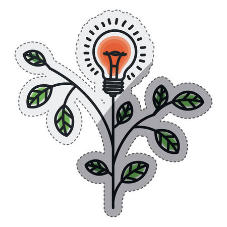 creativity: Bulb and plant draw icon. Big idea creativity imagination and inspiration theme. Isolated design. Vector illustration