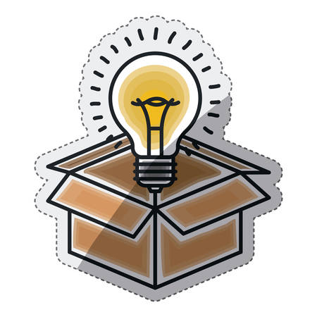 Bulb and box draw icon. Big idea creativity imagination and inspiration theme. Isolated design. Vector illustration