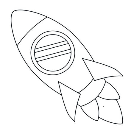 shuttle: Rocket draw icon. Spaceship aircraft start up and shuttle theme. Isolated design. Vector illustration