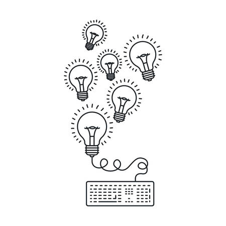 Bulb and keyboard draw icon. Big idea creativity imagination and inspiration theme. Isolated design. Vector illustration