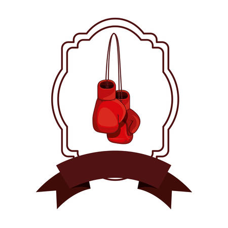 Glove inside frame icon. Boxing sport competition fight and training theme. Isolated design. Vector illustration Illustration