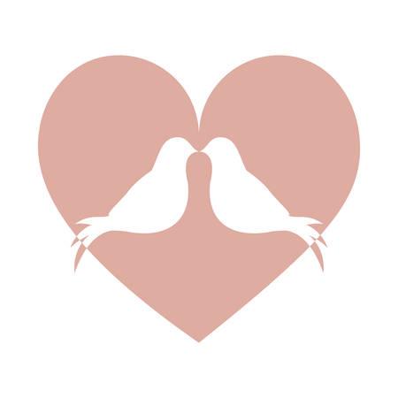 lovebird: lovebirds silhouette in heart cartoon icon image vector illustration design