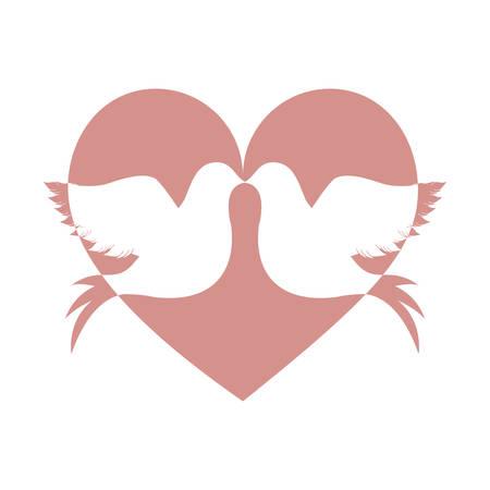 lovebirds: lovebirds silhouette in heart cartoon icon image vector illustration design