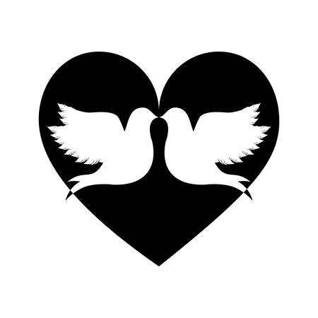 lovebirds silhouette in heart cartoon icon image vector illustration design