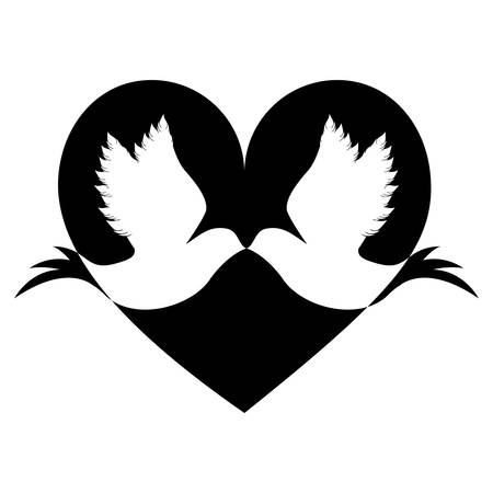 inseparable: lovebirds silhouette in heart cartoon icon image vector illustration design