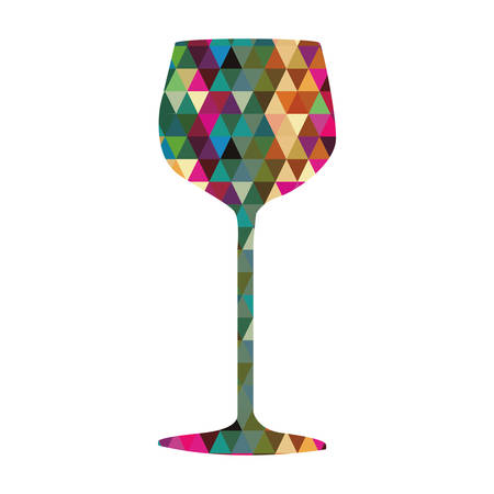 wine glass triangle mosaic icon image vector illustration design Illustration