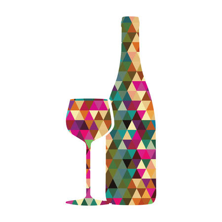 wine glass and bottle triangle mosaic icon image vector illustration design