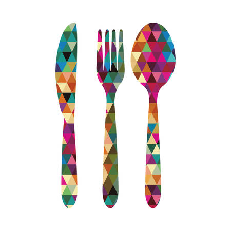 cutlery triangle mosaic icon image vector illustration design