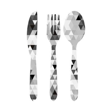 cutlery triangle mosaic icon image vector illustration design