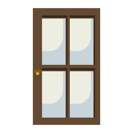 doorknob: glass and wood door icon image vector illustration design