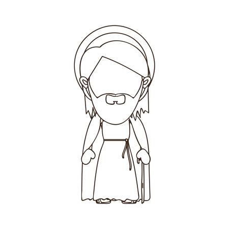 nativety: st joseph holy family icon image vector illustration design