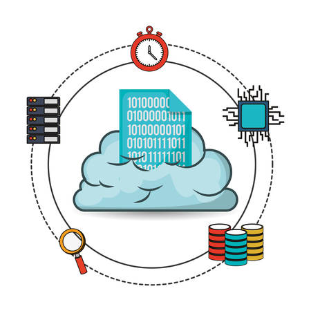 big data cloud with related icons image vector illustration design