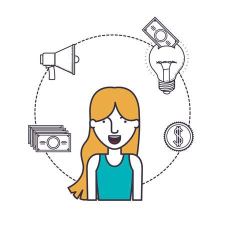 female user with advantages of internet and digital technology image vector illustration design