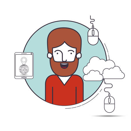 male user with advantages of internet and digital technology image vector illustration design Illustration