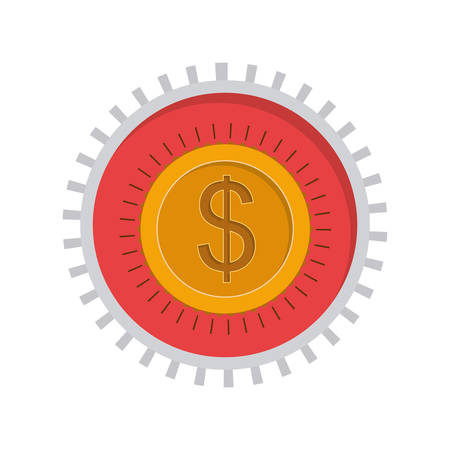 toothed: image with currency symbol dollar in toothed circle vector illustration