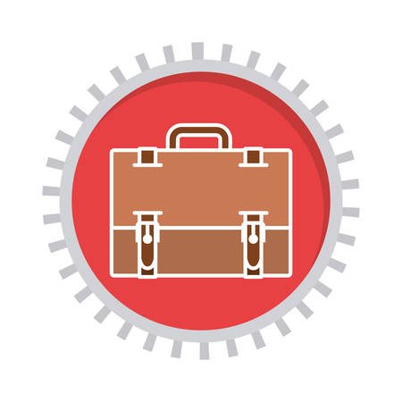 handgrip: image with suitcase in toothed circle vector illustration