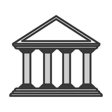 doric: monochrome color of greek temple parthenon vector illustration Illustration