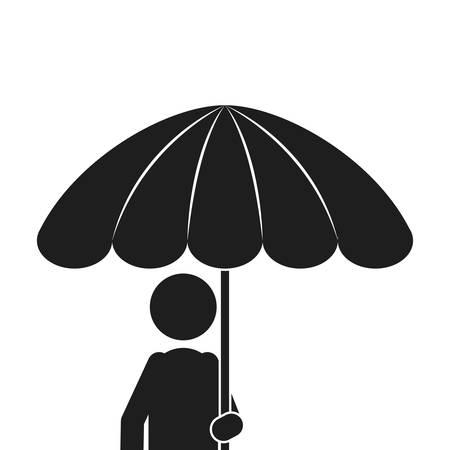 monochrome silhouette of half body man with umbrella vector illustration Illustration