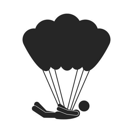 and the horizontal man: monochrome silhouette with man position horizontal in parachute vector illustration