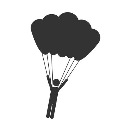 monochrome silhouette with man hanging in parachute vector illustration vector illustration