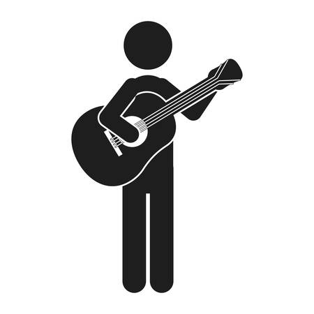 monochrome silhouette of man with guitar vector illustration Illustration