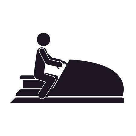 moto acuatica: monochrome silhouette with man in jet ski vector illustration Vectores