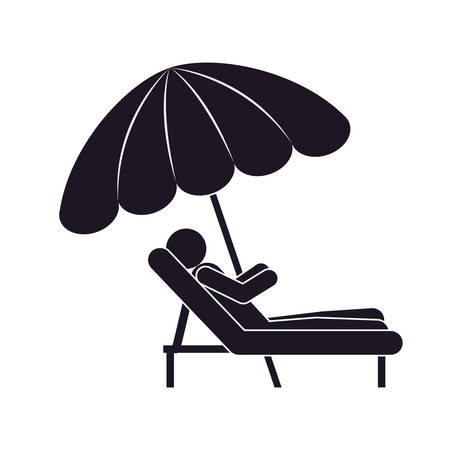 sunshade: monochrome silhouette person in Beach Chair with sunshade vector illustration Illustration